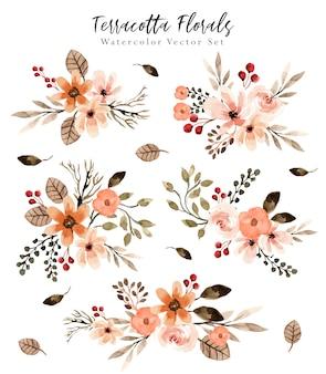 Ensemble d'aquarelle d'arrangement de fleurs en terre cuite