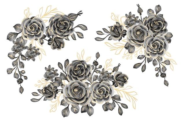Ensemble aquarelle d'arrangement floral avec de l'or noir rose