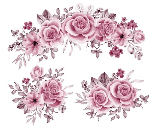 Ensemble aquarelle d'arrangement floral avec de l'or rose rose
