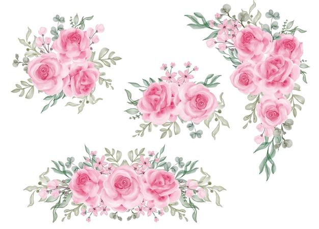 Ensemble aquarelle d'arrangement floral avec rose rose