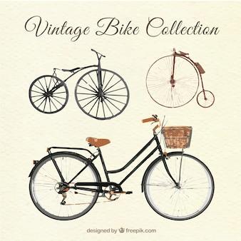 Ensemble aquarelle de bicyclettes anciennes