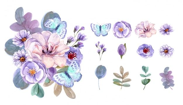 Ensemble aquarelle bouquet et éléments floraux.
