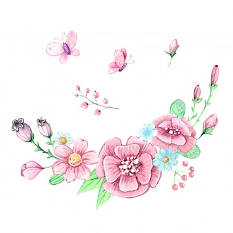 Ensemble aquarelle d'un bouquet de fleurs et de papillons
