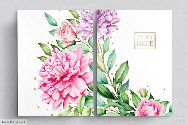Ensemble aquarelle de bouquets de belles fleurs