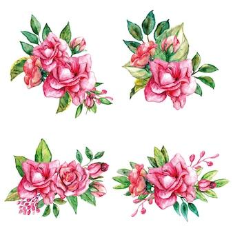 Ensemble d'aquarelle de bouquets de roses roses