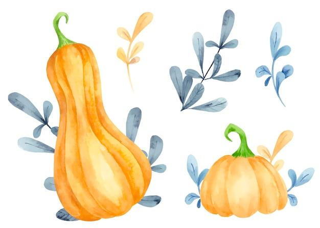 Ensemble aquarelle de citrouilles et de feuilles d'automne