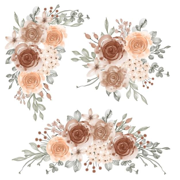 Ensemble aquarelle de composition florale beige couleur pastel douce