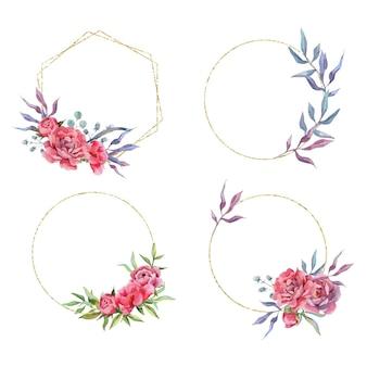 Ensemble aquarelle dessiné à la main de cadres et bordures dorés pivoine bouquets et arrangements de fleurs