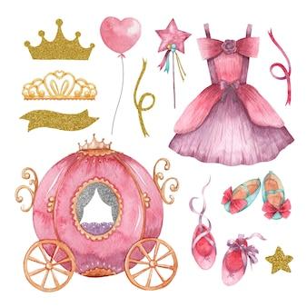 Ensemble aquarelle dessiné à la main d'éléments mignons de petite princesse