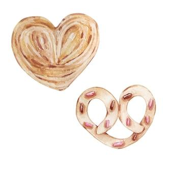 Ensemble aquarelle de différentes pâtisseries dessinées à la main sous la forme d'un coeur isolé