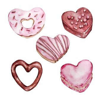 Ensemble aquarelle de différents bonbons dessinés à la main sous la forme d'un coeur isolé