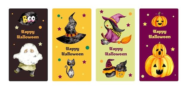Ensemble aquarelle d'étiquette de carte halloween heureux