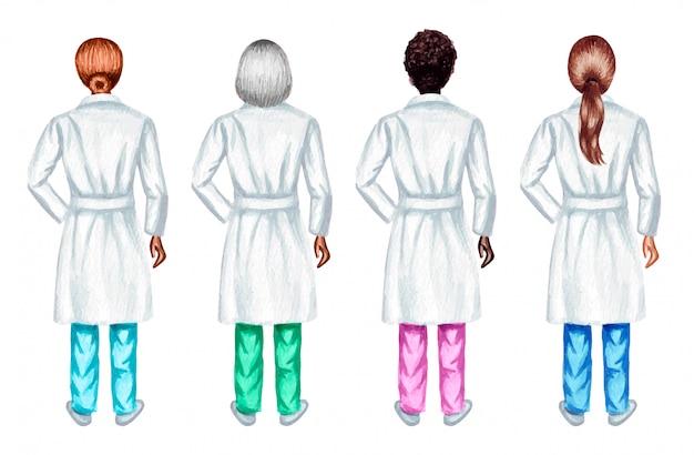 Ensemble aquarelle de femmes médecins debout, isolé sur fond blanc.