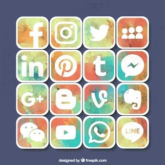 Ensemble de aquarelle icônes de médias sociaux