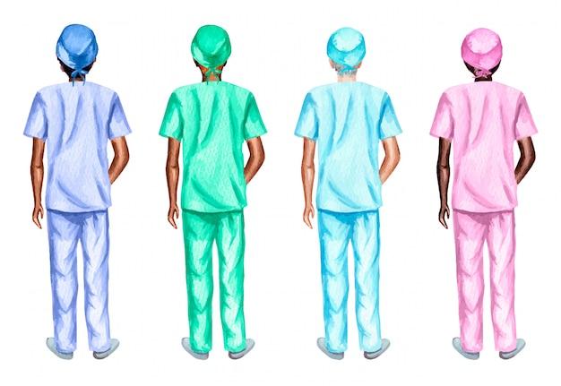 Ensemble aquarelle d'infirmières debout en arrière, isolé sur fond blanc.
