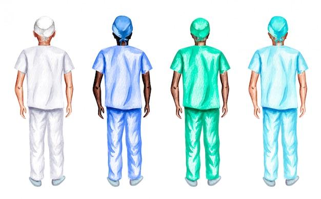 Ensemble aquarelle d'infirmières de sexe masculin debout en arrière, isolé sur fond blanc.