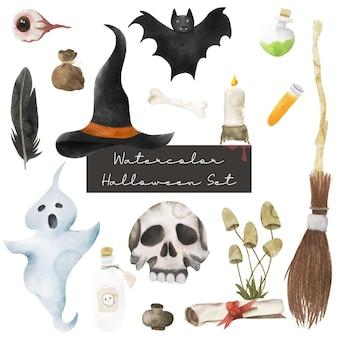 Ensemble aquarelle joyeux halloween