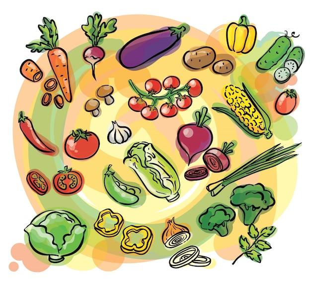 Ensemble aquarelle de légumes
