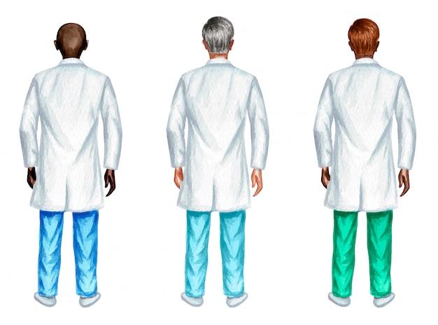 Ensemble aquarelle de médecins masculins debout, isolé sur fond blanc.