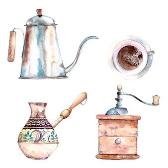 Ensemble aquarelle mignon de clip arts d'éléments de cafetières