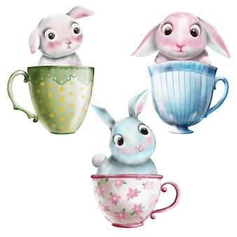 Ensemble aquarelle mignonne de lapins dans des tasses à thé