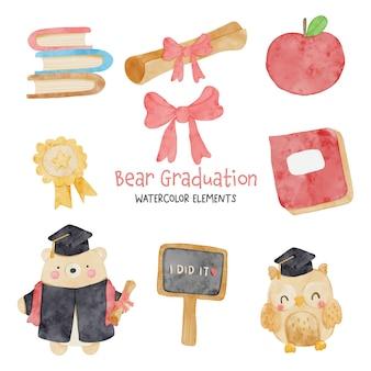 Ensemble d'aquarelle ours de remise des diplômes