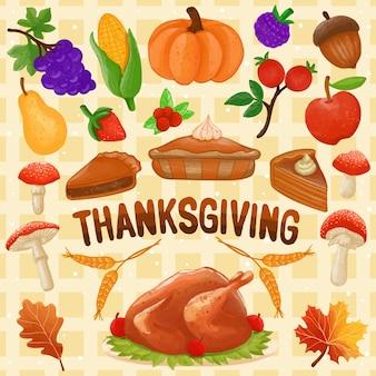 Ensemble d'aquarelle peinte thanksgiving décoration clipart festif dessinés à la main