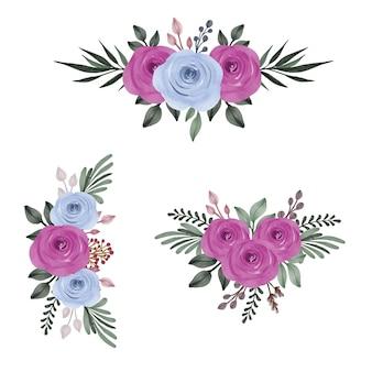 Ensemble aquarelle roses et bleus