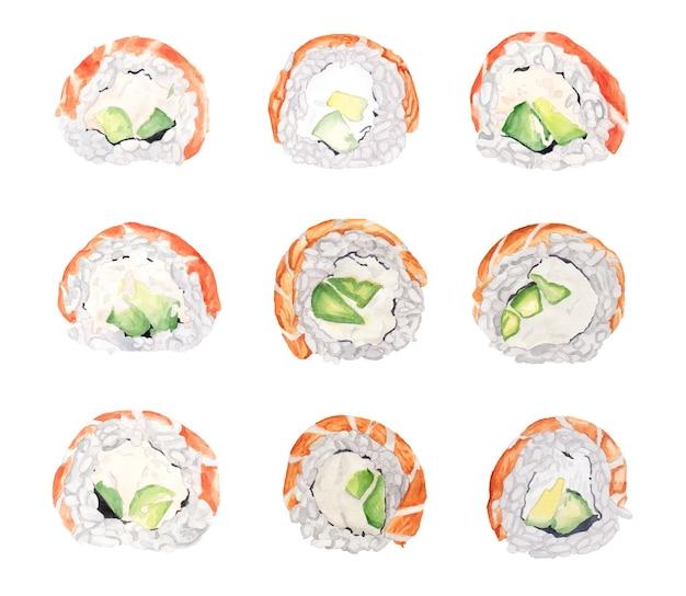 Ensemble aquarelle de rouleaux de philadelphie avec du poisson saumon rouge