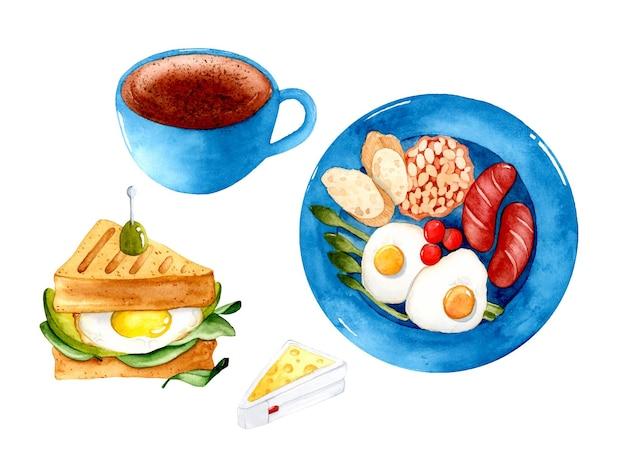 Ensemble d'aquarelle de sandwich au café de petit déjeuner anglais