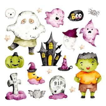 Ensemble aquarelle de trucs mignons d'halloween