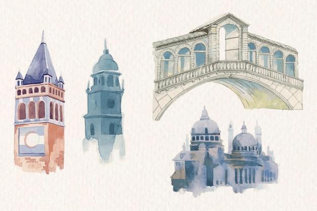 Ensemble aquarelle de vecteur de bâtiment architectural européen vintage