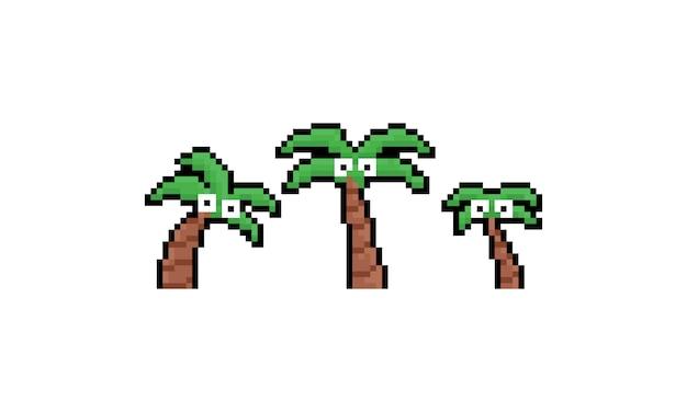 Ensemble d'arbre de noix de coco de dessin animé pixel art