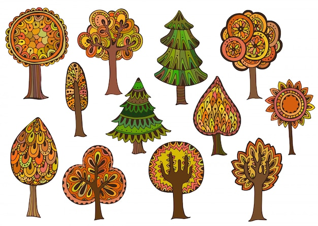 Ensemble d'arbres d'automne dessinés à la main