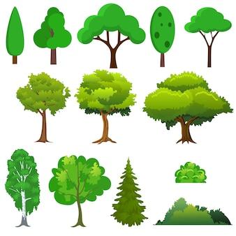 Ensemble d'arbres différents. en plat