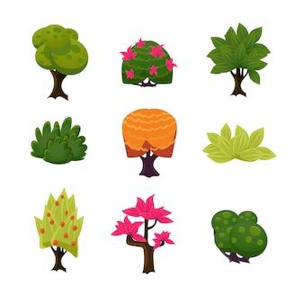 Ensemble d'arbres, de feuilles et de buissons de dessin animé