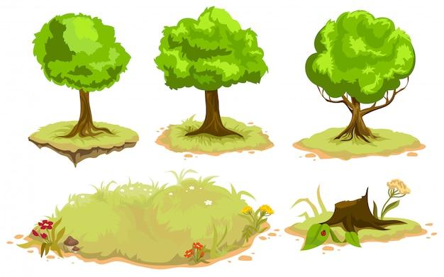 Ensemble d'arbres à feuilles caduques