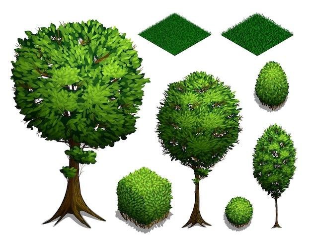 Ensemble d'arbres isométriques. buissons isométriques réalistes, arbres et herbe isolés sur fond blanc. icône isométrique plate