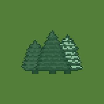 Ensemble d'arbres de noël couleur rétro dessin animé pixel art