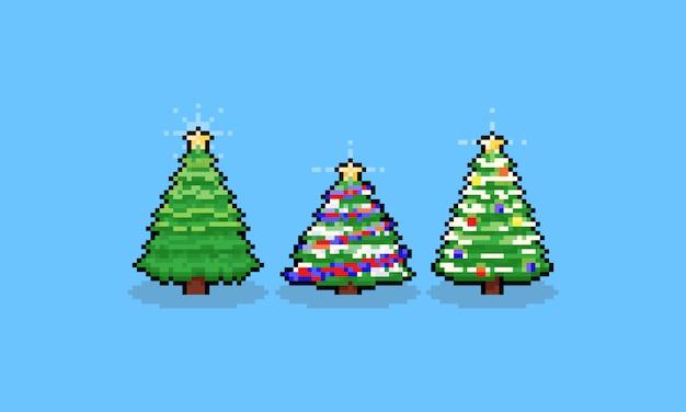 Ensemble d'arbres de noël dessin animé pixel art.