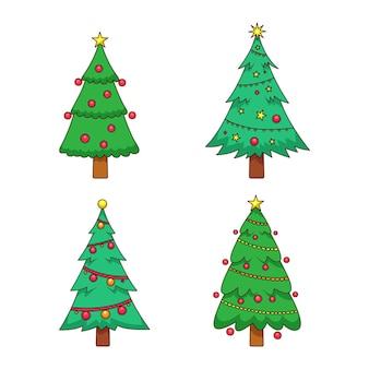 Ensemble d'arbres de noël dessinés avec des ornements