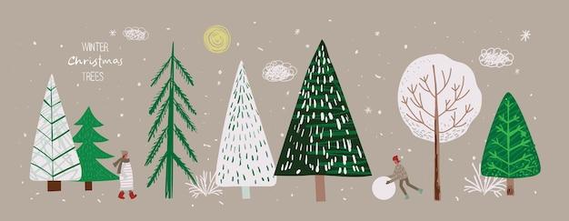 Ensemble d'arbres de noël d'hiver et de personnes de nuage de flocon de neige de neige de soleil