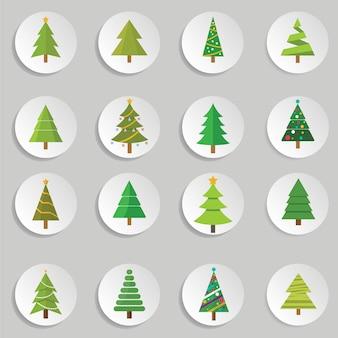 Ensemble d'arbres de noël, illustration vectorielle arbre de noël avec décoration