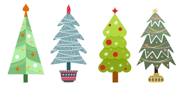 Ensemble d'arbres de noël isolé sur fond blanc. décoration du nouvel an. ensemble plat d'arbres de noël.