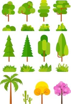 Ensemble d'arbres pour images vectorielles parc et paysage