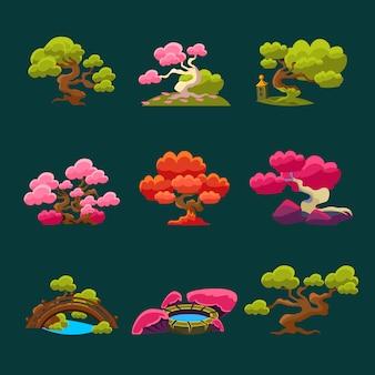 Ensemble d'arbres de style japonais