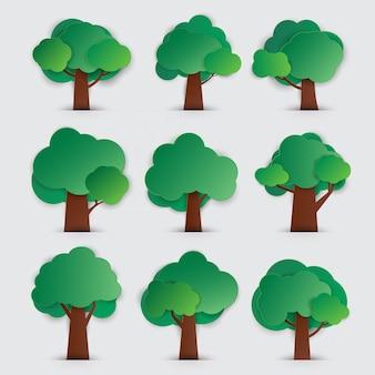 Ensemble d'arbres avec style de papier découpé