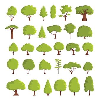 Ensemble d'arbres stylisés abstraits de printemps ou d'été. illustration naturelle.