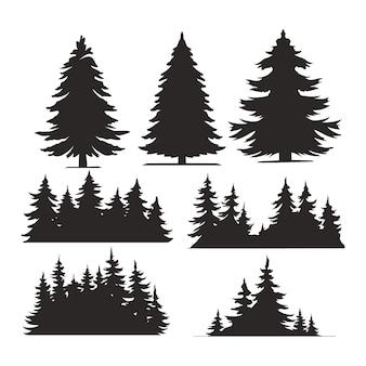 Ensemble d'arbres vintage et de silhouettes de forêt