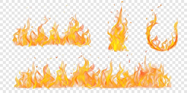 Ensemble d'arc brûlant translucide et de feux de camp de flammes et d'étincelles sur fond transparent. à utiliser sur des illustrations claires. transparence uniquement en format vectoriel